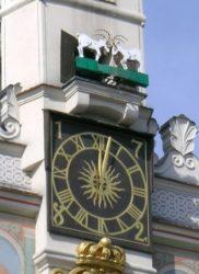 Imagen de como son las doce campanadas mediante las llamativas formas de 2 cabras chocando sus cabezas.