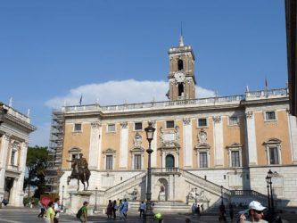 La Plaza del Campidoglio con la estatua de Marco Aurelio en su centro