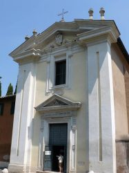 La pequeña iglesia Domine Quo Vadis