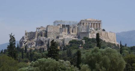 Maravillosa vista de la Acrópolis desde el Pnyx