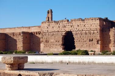 Una de las fachadas derruidas de El Badi, con cigüeñas que anidan en lo alto